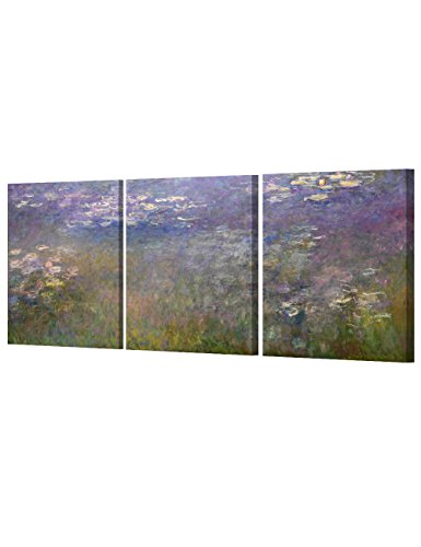 Monet Water Lilies Oil Painting - DECORARTS - Water Lilies 1914 in Giverny (Triptych) by Monet Oil Painting Reproduction Giclee Print on 100% Cotton Canvas Wall Art for Home Decor and Wall Decor 3pcs/Set x 16x20
