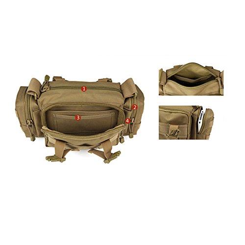 YAAGLE Mens mujer combate militar táctico Molle Nylon impermeable al aire libre deporte senderismo bolso bandolera hombro Fanny Bum cintura Pack bolsa de pecho mano cámara negro marrón verde camuflaje marrón