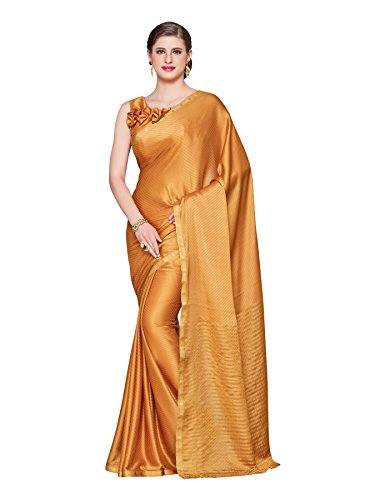 KUPINDA Kanjivaram Style Crepe Saree Color: Brown (4223-2168-SD-CHIKU) (Saree Crepe Pure)
