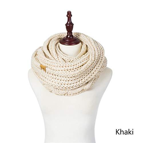 - EUKLFI Warm Winter Scarf Ladies Ring Scarf Soft Neck Knitted Scarf Women Scarves Wrap Men Khaki
