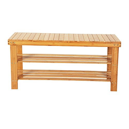 Hatou Extra Long Shoe Rack Bench, 3-Tier Bamboo Shoe Organizer for 8 Pairs of Shoes, 35 inch, Bamboo Stool with Storage Shelf for Entryway Hallway Bathroom Living Room - 35 3 Tier Inch