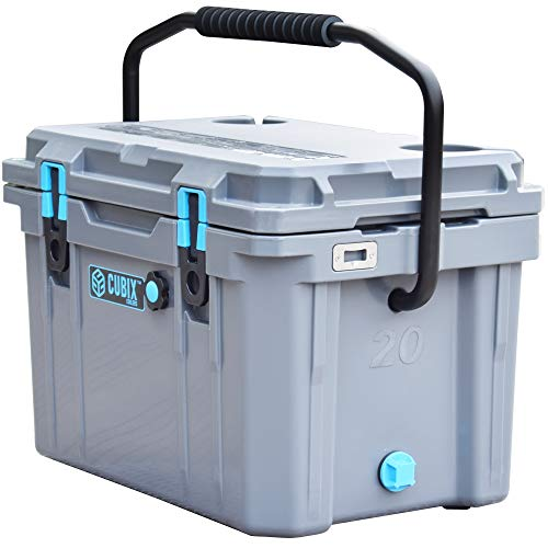 Cubix Ice Chests and Coolers | 20 Quart Gray Lifetime Rotomolded Ice Cooler | Portable and Hard | Great for Camping, Travel, Fishing, Beach and Patio