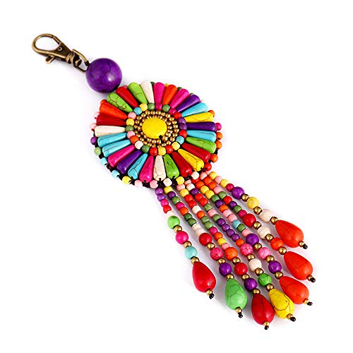 QTMY Colorful Beaded Tassel Long Boho Bag Charm Pendant Keyring Keychain for Women Purse Handbag Decor (3)