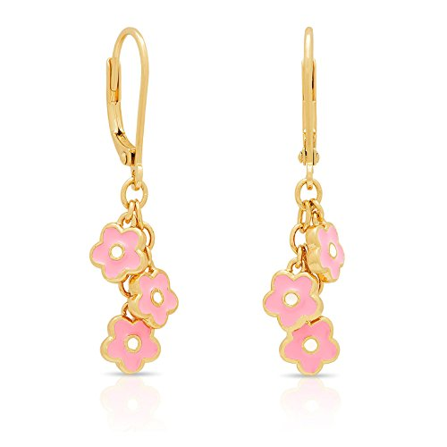 Jewelry for Girls - Dangling Flower Charms - Gold Plated with Hand Painted Enamel - By Lily ()