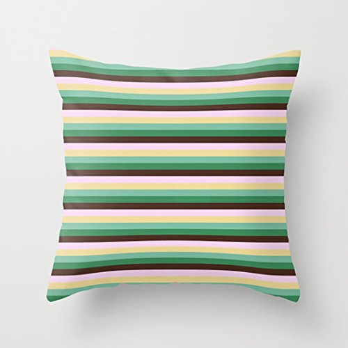HotNewbee Throw Pillowcases Set Earth Tones Skinny Stripes with Fresh Style Pattern & Beautiful Perfect for Daily Life 1818In (Skinny Stripe Earth)