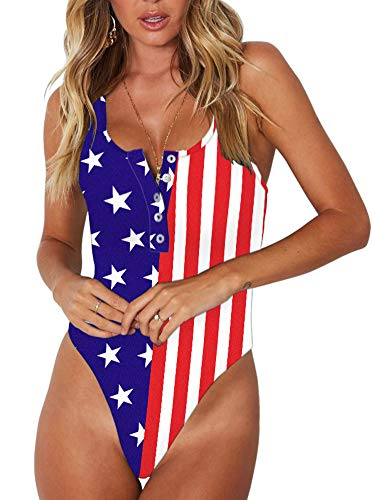 Women's Sexy Scoop Neck Racerback Tank Top Button Down Stretchy America Flag Printed Leotard Bodysuits Small ()