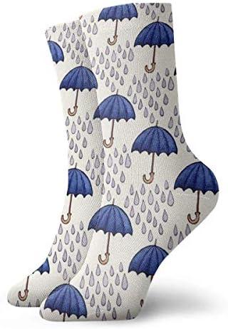 Heren en damessokkenBlauwe paraplus Kleurrijke grappige nieuwigheid Crew sokken