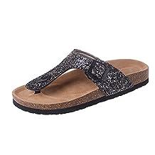 DATAIYANG Flip-flop-sandals Dataiyang Women Beach Cork Slippers Casual Sandals Sequins Slides Double Buckle Clogs Flip Flops Flats Shoe