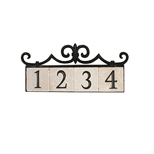 NACH KA House Address Sign/Plaque - Colonial, 4 Numbers, Iron, 18 x 8 x 1