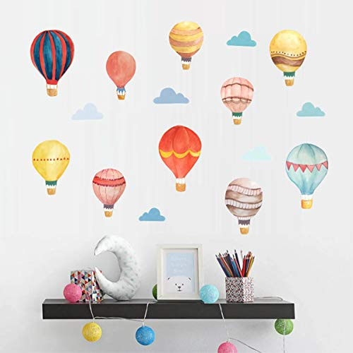 Bamsod Hot air Balloon Aircraft and Smile Clouds Wall Decals Kids Room Wall Decorations Art Decor Stickers Nursery Decor Removable Bedroom Sticker -
