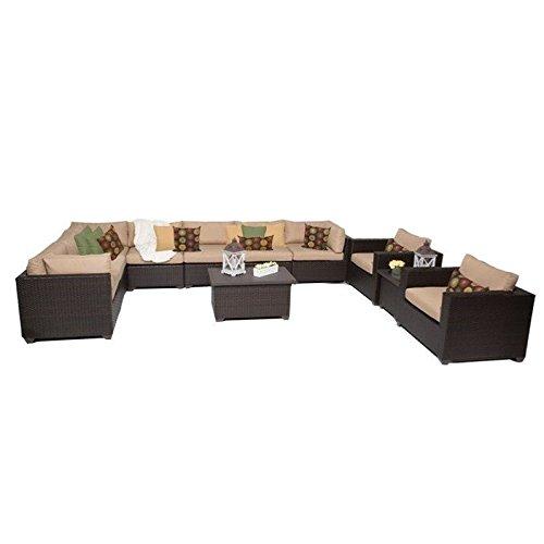 TK Classics 11 Piece Belle Outdoor Wicker Patio Furniture Set, Wheat