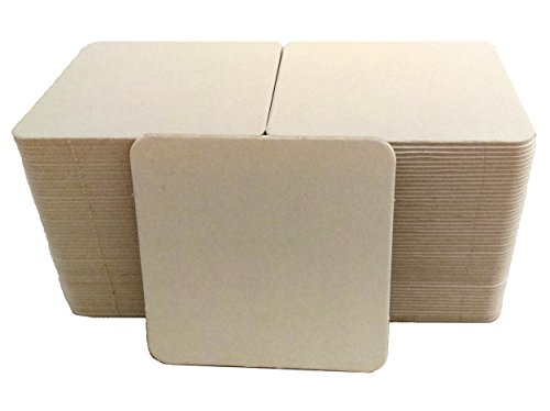 Inkfish and Co. ☆100 Pack 4 Inch Square Blank Coasters Off White Color Heavyweight Cardboard Pulp Board Paper Made in USA Perfect For All Drinks DIY Craft Projects Printing Mini Art Zen Boards