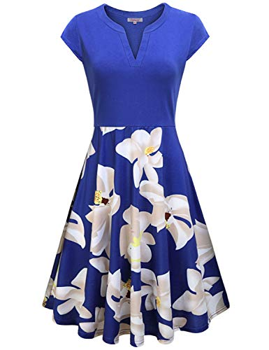 Floral Midi Dresses for Women,Homecoming Church Frocks Girls Flower Print Swing A Line Wedding Dress Vintage V Neck Short Sleeve Cocktail Ladies Vacation Traveling Club Party Hawaiian Tunic Blue ()