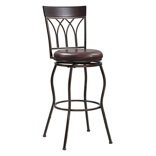 Extending Legs Arched Back Metal Bar/Counter Stool, 24