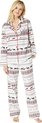 (BedHead Women's Long Sleeve Classic Notch Collar Pajama Set American Fairisle)
