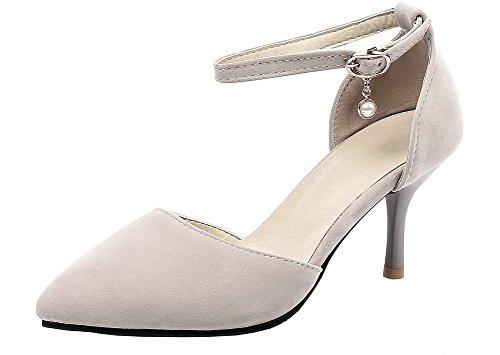 AgeeMi Cheville EuD75 Beige Pointue Boucle Sangle Talon Chaussures Femmes Moyen Shoes rpq7gr