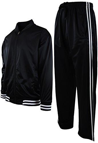 Mens Athletic 2 Piece Tracksuit Set (XL, 2LINESET-Black)