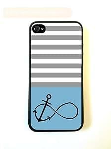 Anchored-Forever Aqua & Grey Stripes Black iPhone 5 Case - For iPhone 5/5G - Designer PC Case Verizon AT&T Sprint