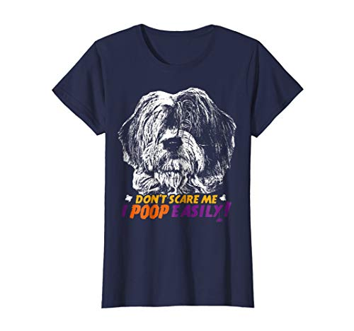 Womens Old English Sheepdog Don't Scare Me I Poop Halloween T-shirt Small Navy