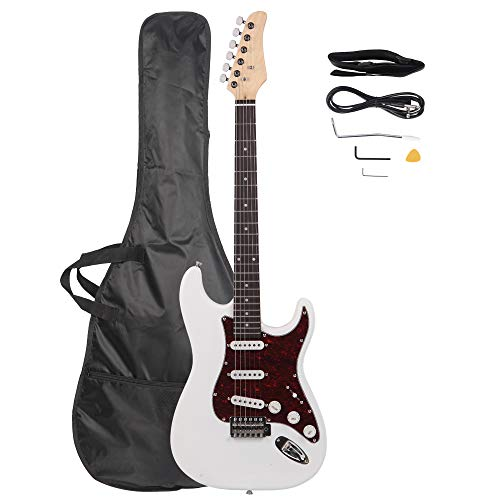 LAGRIMA 39″ Full Size Beginner Electric Guitar Starter Kit with Power Cord, Guitar Bag, Shoulder Strap and Plectrum (White)