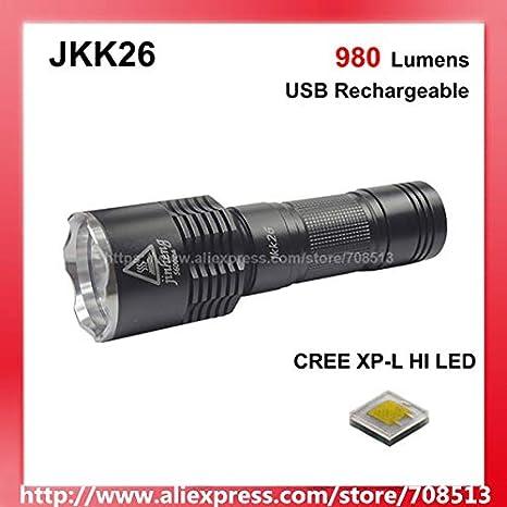 Neutral Blanco 4500K, 3 Modo L M H WithSMO: JKK26 Cree XP-L HI Blanco 6500K / Blanco Neutral 4500K 980 Lúmenes Linterna LED con USB Carga Head – Negro (1x18650/1x26650: Amazon.es: Iluminación