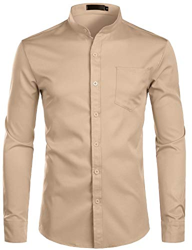 ZEROYAA Men's Banded Collar Slim Fit Long Sleeve Casual Button Down Dress Shirts with Pocket ZLCL09 Khaki ()