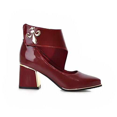 stagioni XIAOGANG gomma Nero HQuattro H Metal red tacco Hollow aguzza scarpe rosso Bianco abrasione grosso 37 donne EOEqYxr
