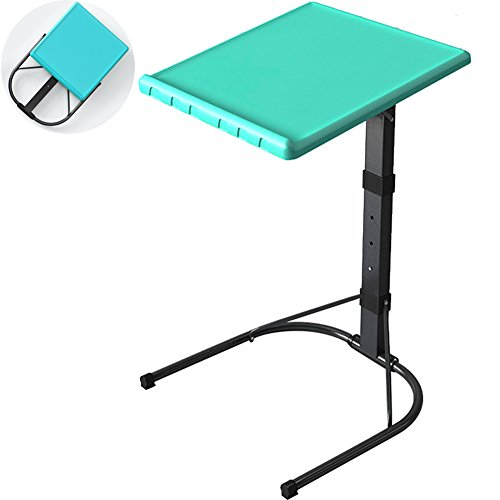 TINTON LIFE Portable Fully Foldable TV Tray Adjustable Height Tray Removable Side/Snack/End Table for Bed Sofa Laptop Desk Stand Easy Storage, Blue by TINTON LIFE