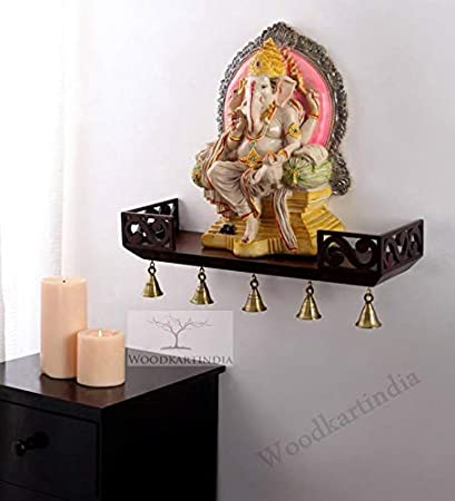Woodkartindia Wooden Wall Shelf Temple Shelf Temple Ghar For Statue