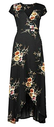 Short Slit Sleeve Neck Stylish Long Black Womens V Printed Dresses Cruiize 5AZwExO