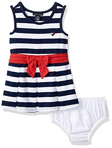 (Tommy Hilfiger Baby Girls Dress, Navy/White Stripes, 12M)