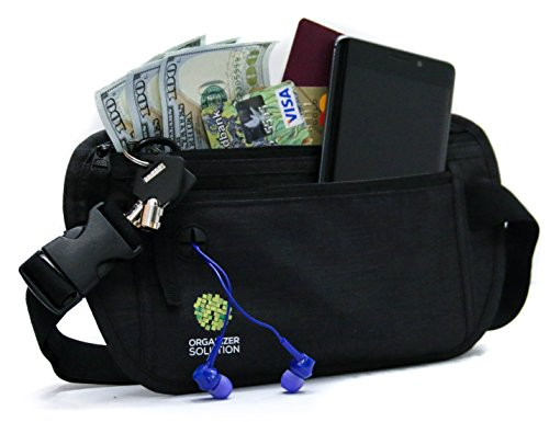Money belt for travel and daily use with rfid protection, belt wallet (black)