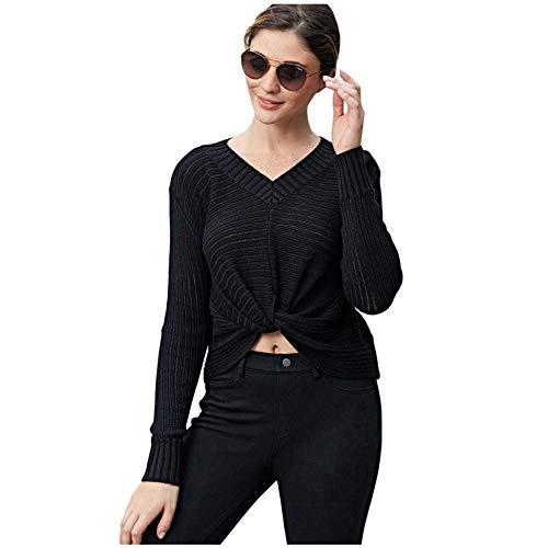 Larga Torcedura Blusa Diseño Sólido Top Suave Camisa black Casual En  Párrafo Shirt Black Mujer Costilla ... e4eef15e0bb
