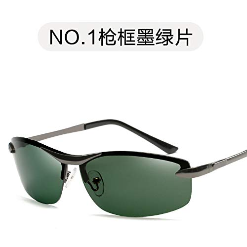 Burenqiq green Película de Sol Gafas de de Retro frame Gafas de polarizadas Oro Sol Sol conducción Moda de de Verde Gafas los de Hombres polarizadas Gun Marco dark film Espejo Oscuro CqgwrTC