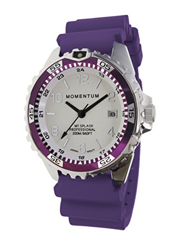 Women's Quartz Watch | M1 Splash by Momentum| Stainless Steel Watches for Women | Dive Watch with Japanese Movement & Analog Display | Water Resistant ladies watch with Date -Lume  / Eggplant Rubber