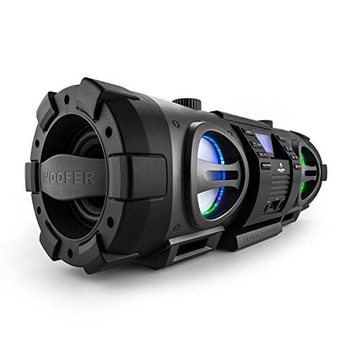 Auna Soundblaster L Boombox Bluetooth Ghettoblaster mit CD (40 Watt, USB-Slot, MP3-CD-Player, AUX, UKW-Radio, LED-Lichteffekt, Netz-oder Batterie-Betrieb, Science-Fiction-Industrie-Design) schwarz