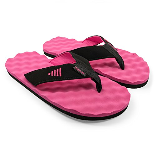 PR SOLES Recovery Flip Flops | Sandals for Men and Women | Great for Athletes | Black/Pink,SM | (W) 7.5 - 8.5 | (M) 6.5 - - Pr Pink