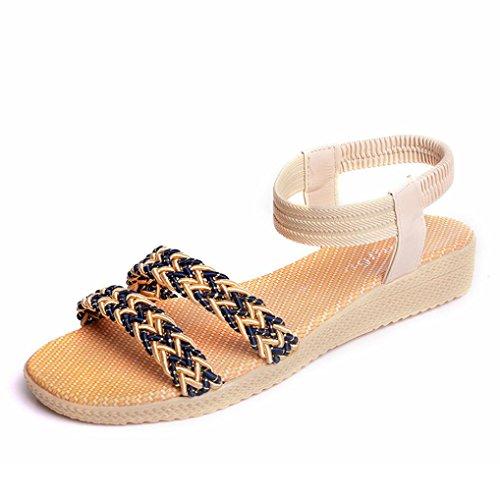 Bohemia de ocio aire libre Zapatos zapatos sandalias plana al Mujeres señora toe Beige peep de Winwintom soild wUvEqR