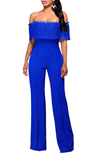 Womens Elegant Off Shoulder High Waist Wide Leg Lace Jumpsuits Rompers M Blue -