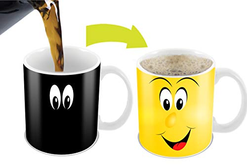 Cortunex Morphing Morning Coffee Mug.11 Ounce. Changing Color Mug For Cartoon Lovers Ceramic Heat Sensitive Color Changing Coffee Mug. Novelty Heat Sensitive Mug With A Funny Yellow Smiley Face ()