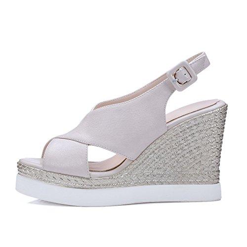 AgooLar Women's Microfiber Solid Buckle Open Toe High-Heels Sandals Beige ESHyTmE