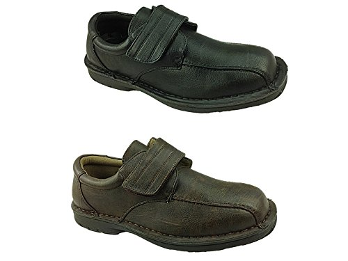 Work Size Slip Faux On Leather 6 Black UK 300411 Shoes Office Smart Stallion® 11 Velcro Casual Mens Formal 7 Oq01A