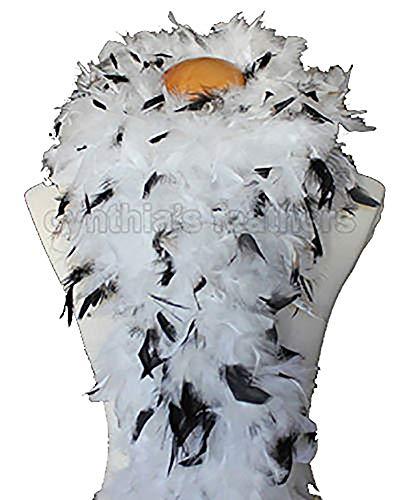 Cynthia's Feathers 80g Chandelle Feather Boa (White/Black tips)]()
