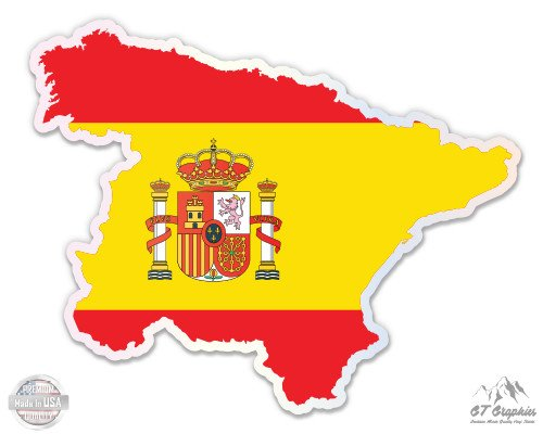 Spain Map Flag Country Shape - 16'' - Large Size Vinyl Sticker - Outdoor Indoor by GT Graphics