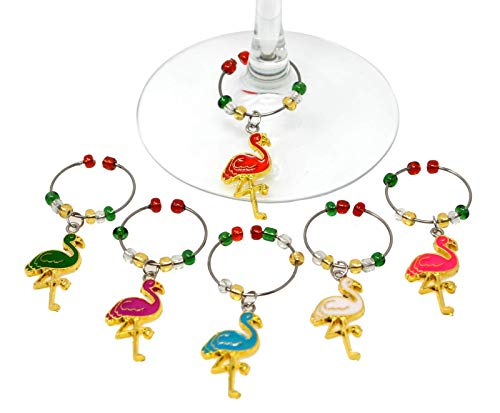 Flamingos Enameled Wine Charms Set of 6 Metal and -
