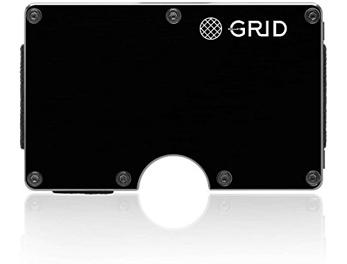 Grid Wallet - Black Aluminum Wallet - Credit Card Holder with RFID Protection - Holds 12 Cards