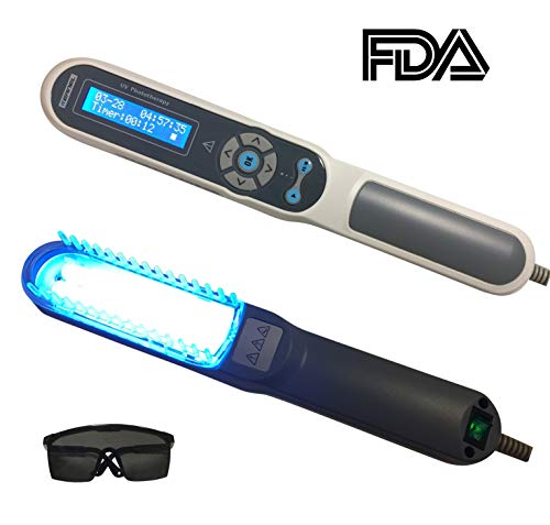 (FDA Approved Hand Held UV Phototherapy Light Therapy for Skin Disorders, Body & Scalp Treatment, 100% Safe & Effective, Home Use, with Comb Attachment & Safety Glasses)