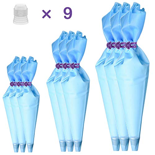 - Qozary Reusable Decorating Bags, 9 Pack Silicone Piping Icing Bags, 27 Pieces Cake Decorating Tools with 9 Pastry Bags, 9 Standard Couplers and 9 Ties, Baking Supplies Kit for Cake, Cupcake, Cookies