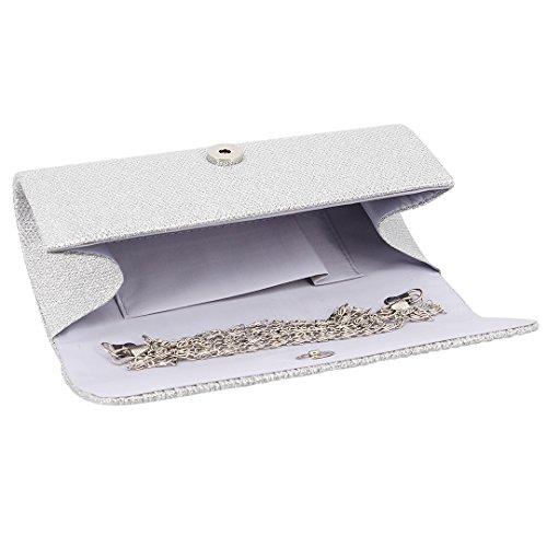 Novias Boutique - Cartera de mano para mujer Dorado dorado plata