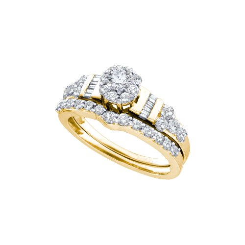 Size 8 – 14K Yellow Gold Large Diamond Ladies Bridal Halo Flower Shape Center Engagement Ring with Matching Curved Notched Wedding Band Two 2 Ring Set – Solitaire Setting w/ Channel Invisible Set Round, Baguette, & Round Diamonds – (1.06 cttw)
